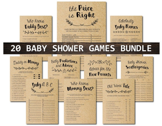Green Elephant Baby Shower Games Package 16h printable INSTANT DOWNLOAD digital files