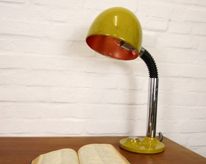 70s desk lamp in ginster yellow with copper patina (unique)-industrial style Deluxe-mustard yellow