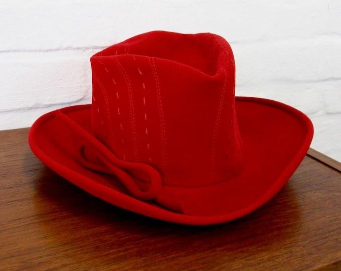 Handmade red vintage Trilby hat-velvet-asymmetrical-Janet Jackson-loop-cowboy hat-fashion-Borsalino-women's hat