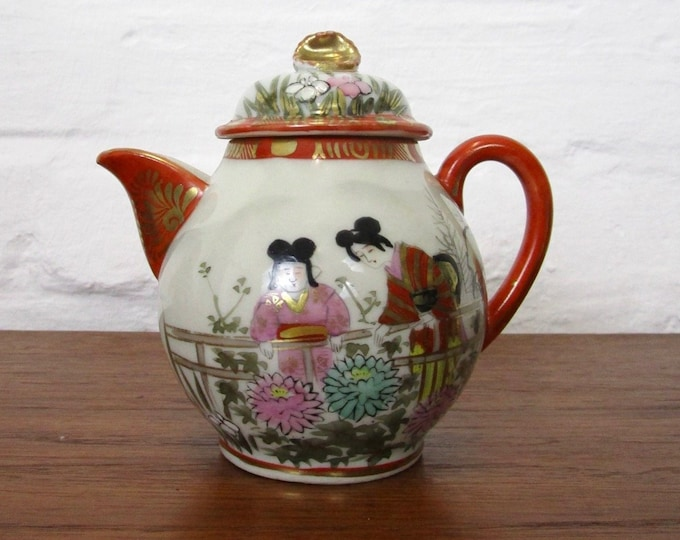50s 60s Japanese porcelain jugs with two Geishas-milk jugs-cream jugs-hand painted-partially gilded