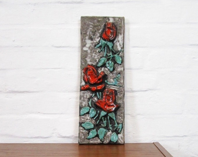60s 70s mural roses floral majolica-Fat lava-wall panel-wall tile-wall tile-ceramic