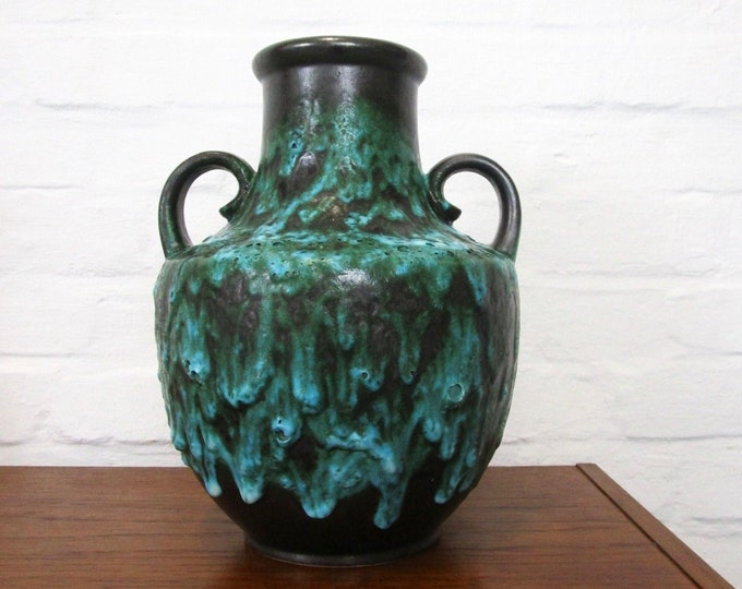 Large 60s 70s ground vase amphora with Fat lava glaze in black and turquoise-Scheurich-German pottery-vase decoration petrol
