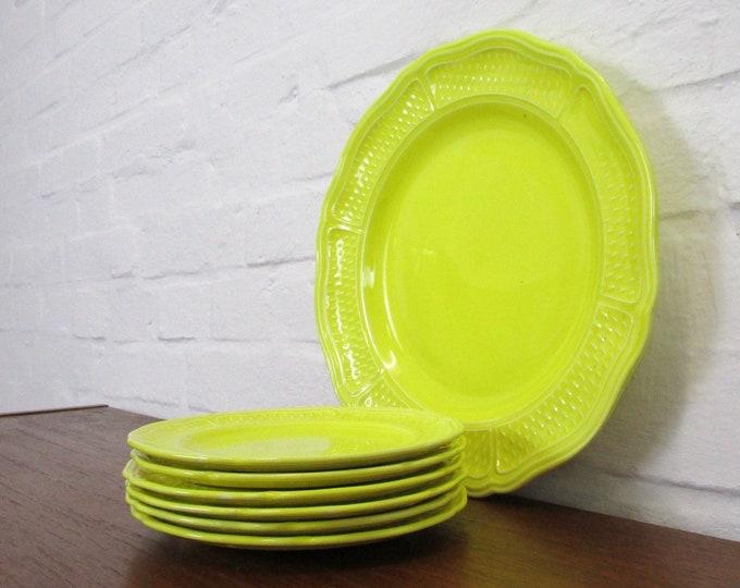 Rare 7-tlg. Pasta plate set Fayence-GIEN France Bon Vivant-dessert plate pastry plate serving plate yellow