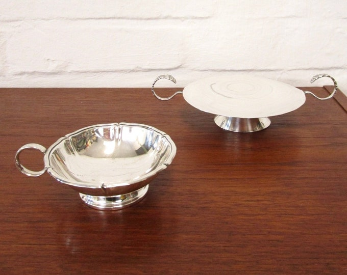 Set silver-plated Art Deco offer bowls with Henkel-antique-Art Nouveau-bowls bowl-Alpaca silver-candy bowl-floral flowers