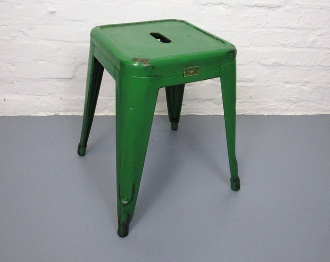 """Original TOLIX stool painted in """"pure green""""-patina-stackable-40s/50s-Design stool-made in France"""