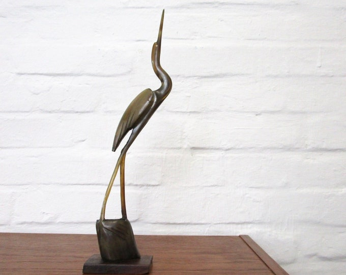50s 60s crane heron-Mid Century Bird Deco-from horn-vintage decoration-string shelf