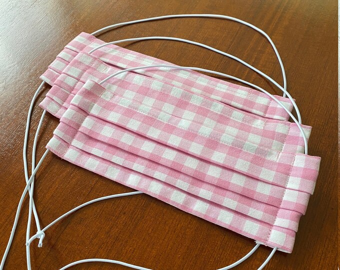 Everyday mask pink rose Vichy plaid with noseband - mouth-nose mask - mouth cover - mask - mouth nose mask - makeshift mask pink