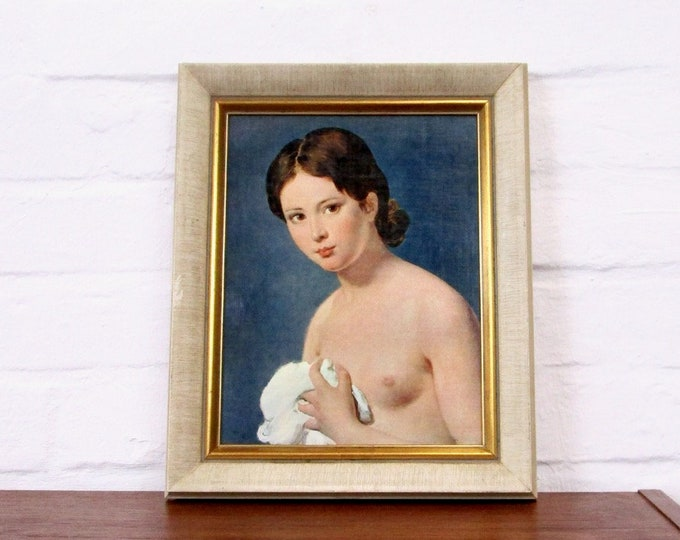 "Nude image ""Portrait de Jeune Fille"" by Jacques-Louis David-Act printed on canvas-reproduction-painting picture-young girl-60s"
