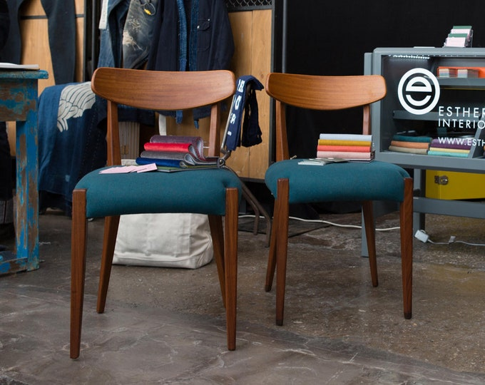 Set 2 60s dining chairs-newly sourced-wool petrol petrol-teak