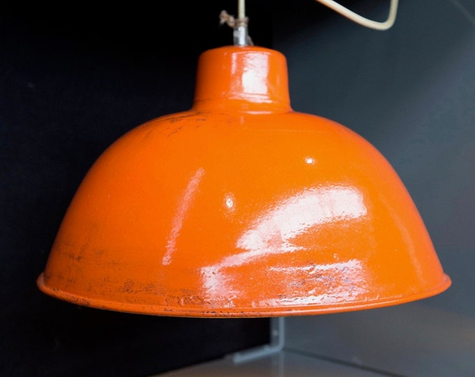 Unique: Factory lamp in red orange with gold patina-industrial style Deluxe-hanging lamp-factory lamp-industrial design-loft-industrial
