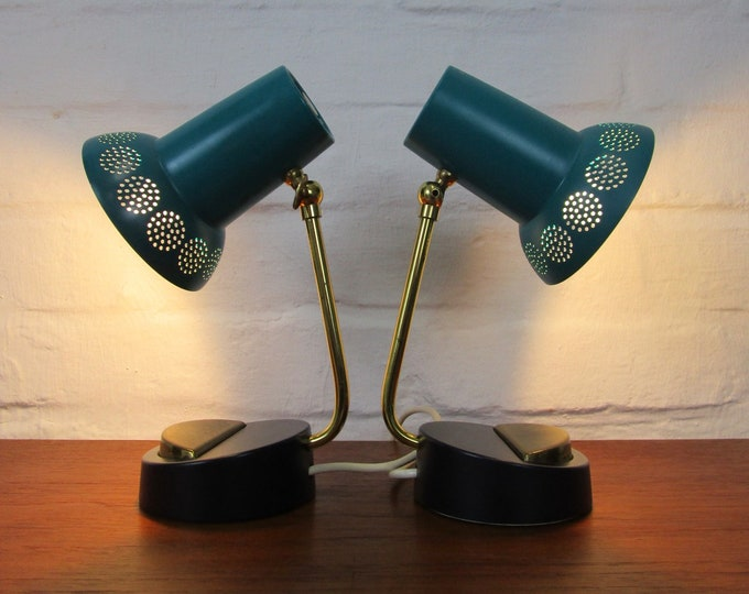 50s bedside slamp set in petrol with perforated witch hat umbrella-adjustable-brass-vintage table lamp-turquoise