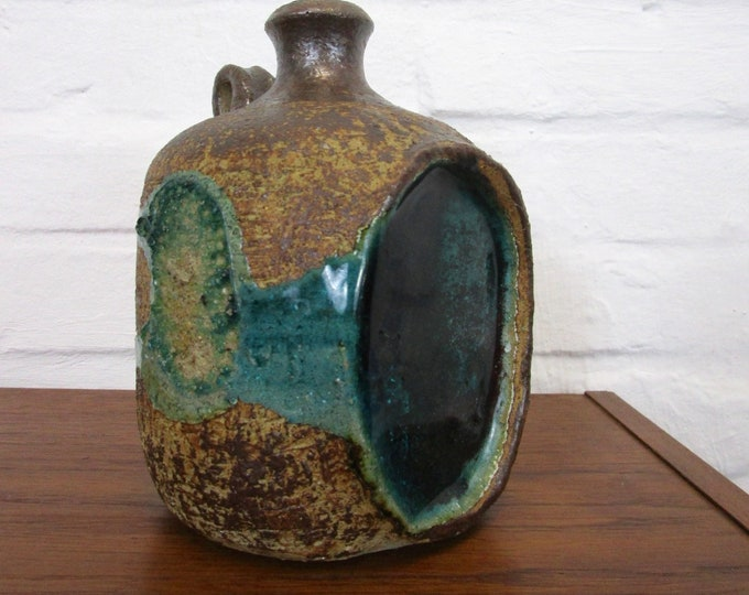 60s 70s ceramic jug with melted glass-rare! -Petrol turquoise-vase-water jug-ball vase-earthenware-collector's object
