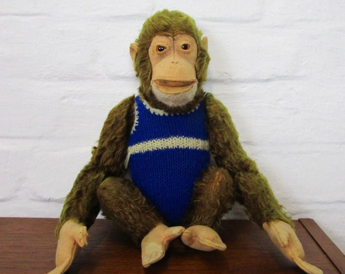 "Steiff plush toy chimpanzee monkey ""jocko""-1960s-stuffed toy with made bodysuit"