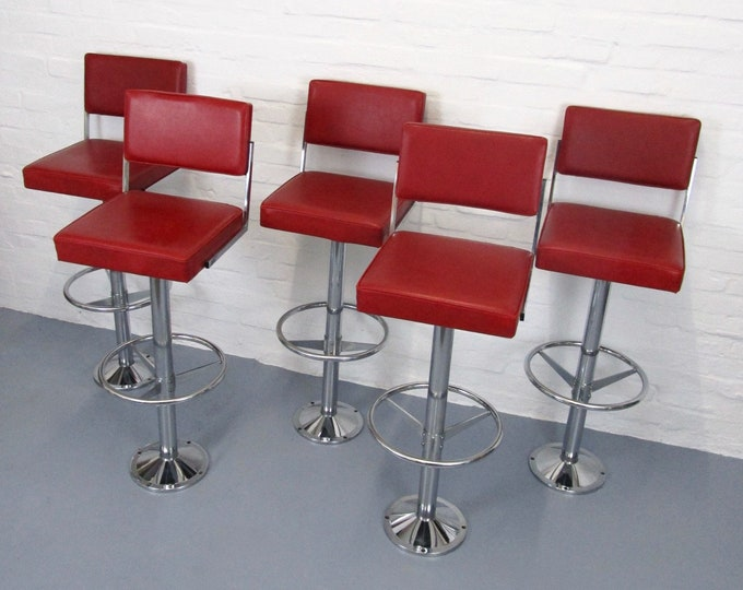 Set of 5 original THONET bar chairs 1960s/70s - bar stool - in red imitation leather and chrome - design