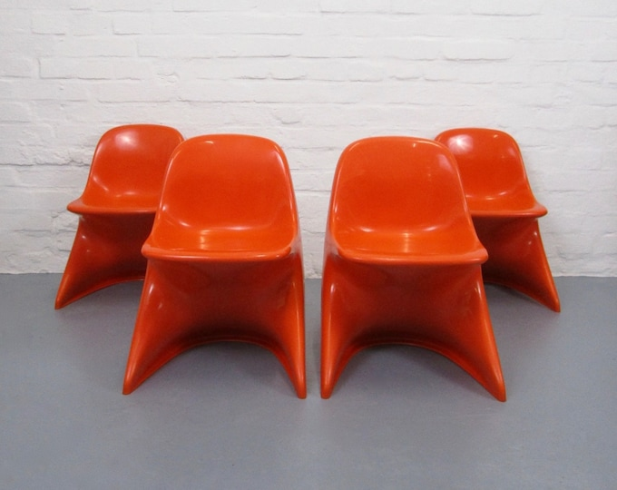 Total 4 Casalino Kids Chairs in Orange-70s Panton Era-Alexander Begge-Casala-Space Age