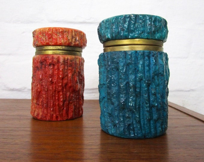 50s 60s genuine alabaster lid tin-cigarette can-turquoise and rotorange-handmade-Italy-marble look-brass montage