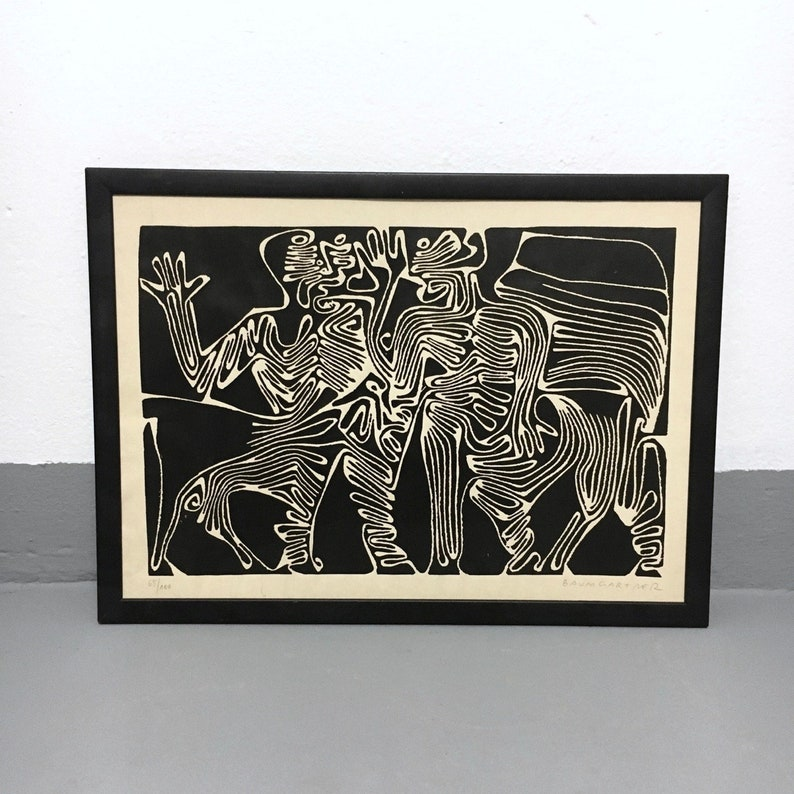 Moth linocut Fritz Baumgartner (1929-2006)-two  centaurs-linolding-monoprint-mythology-horse people-art-graphics