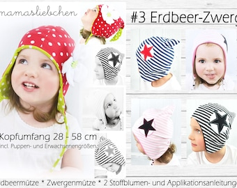 EBook #3 Strawberry Dwarf Sewing Pattern Hat Kids