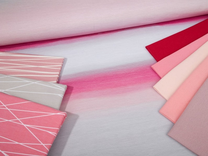 Summer Sweat fabric French Terry watercolor piece prism watercolor #serena 1 panel-0.95 m pink grey pink color gradient water colors