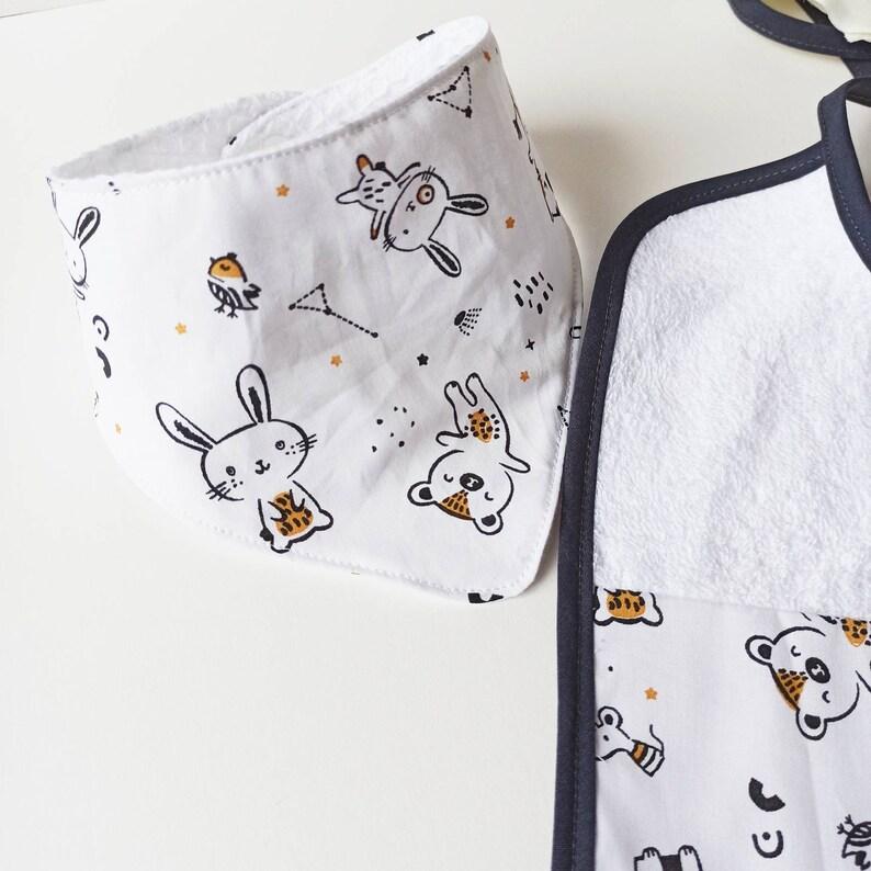 birth mixed girl or boy rabbit bear Set of classic bibs and bandana