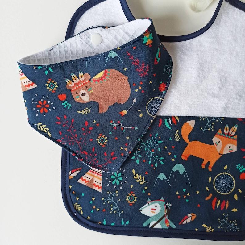 Classic bib set and bandana pig raccoon tare animals birth gift