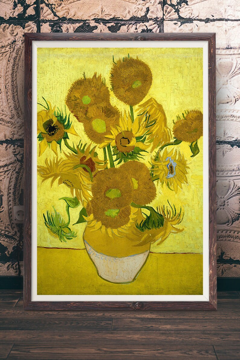 Vincent Van Gogh Sunflowers Ver 2 Oil Painting Post Impressionism Artwork Poster Print Wall Art Decor