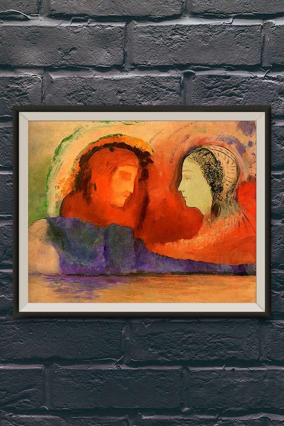 Odilon Redon Dante And Beatrice Dante S Inferno Paintings Abstract Symbolism Art Vintage Artwork Wall Hanging Living Room Bedroom
