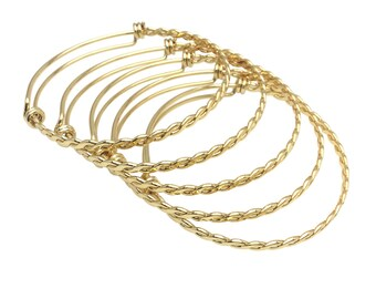 adjustable flexible crystals twisted charm loop braided BRACELET blank BANGLE CUFF