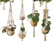Set of 4 Macrame Floating Plant Hanger Jute Rope Flower Pot Holder Plant Holder Floating Planter Macrame Tapestry - Valentine Day Gift