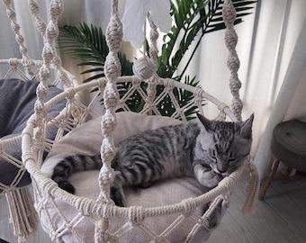 Macrame Cat Hammock Cat Bed wall hanging Decorative Macrame Pet Hammocks Cat Supplies Macramé wall Hanging cat bed Ring - Labour Day Sale