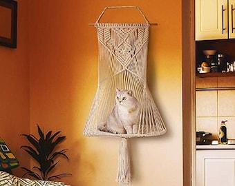 Macrame Cat Bed Macrame Cat Hammock wall hanging Pet Hammock Cat furniture Macrame Cat Swing Hanger Flat Cat House cat tree - Halloween Sale