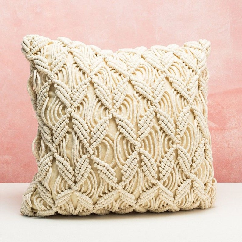 Wedding Decor Throw Pillow Cover 18 x 18 inches Woven Macrame Cushion Cover Macrame Cushion Case Good Friday Sale Pillow Covers