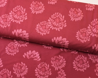 SALE Jersey Flowers Red Burgundy Swafing 0.5m Jesse