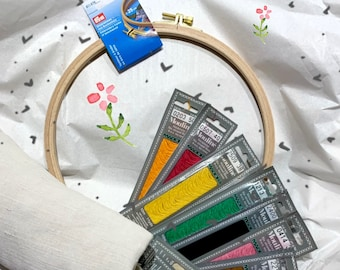 Fancy embroidery!!! Embroidery set (10 colors yarn, embroidery frame 25 cm, embroidery scissors, fabric, marker pen and embroidery needles)