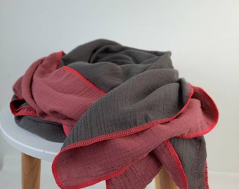 XXL Muslin Cloth rouge/grey Double Face Women's Scarf Cloth Muslin Triangular Scarf