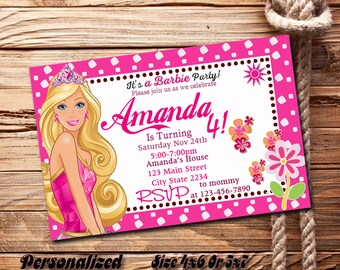 Barbie Birthday Invitation Party Invitations Printable With Photo Pesonalized Size 4X6 Or 5X7 Digital File