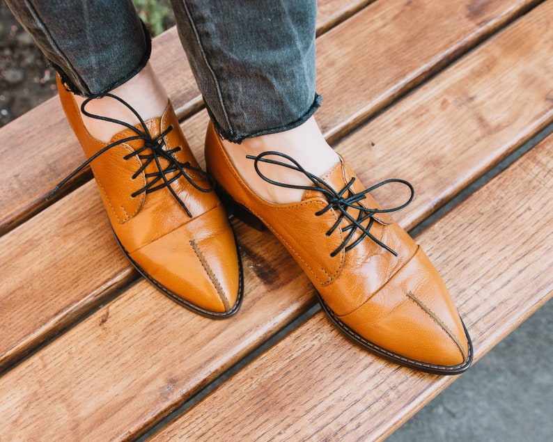 Pointed Toe Oxfords for Women SAVOR Customization Available Womens Brogues Burnt Orange Oxfords Brown Leather Shoes
