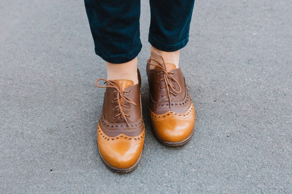 Brown Oxfords Womens Brogues Oxfords For Women Brown Etsy