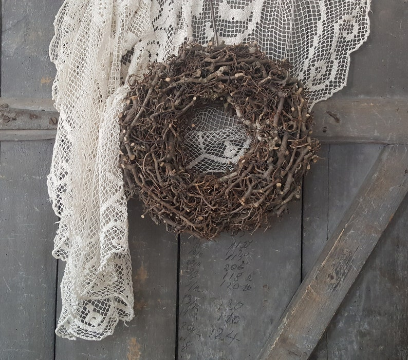 Franske shabby Shabby Chic French Astkranz from small branches for BROCANTE /& shabby Deco Beautiful natural Wreath Vintage style French antique