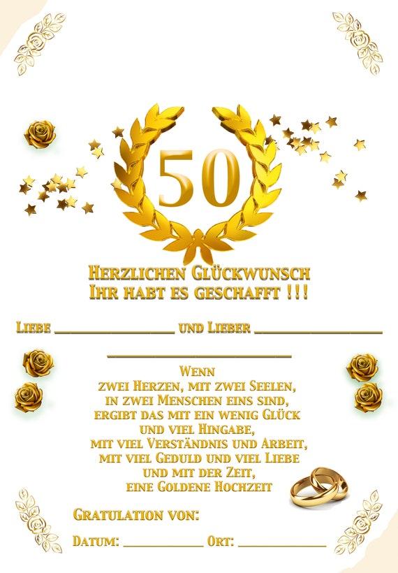 Urkunde Mit Schönem Spruch Goldene Hochzeit Zum Sofortdownloaden Künstlerarbeit Einzigartig Urkunde Für Den Besonderen Hochzeits Tag