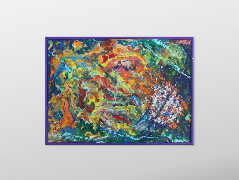 Poster kOLOROMANTYK. A colorful abstract painting. image 0