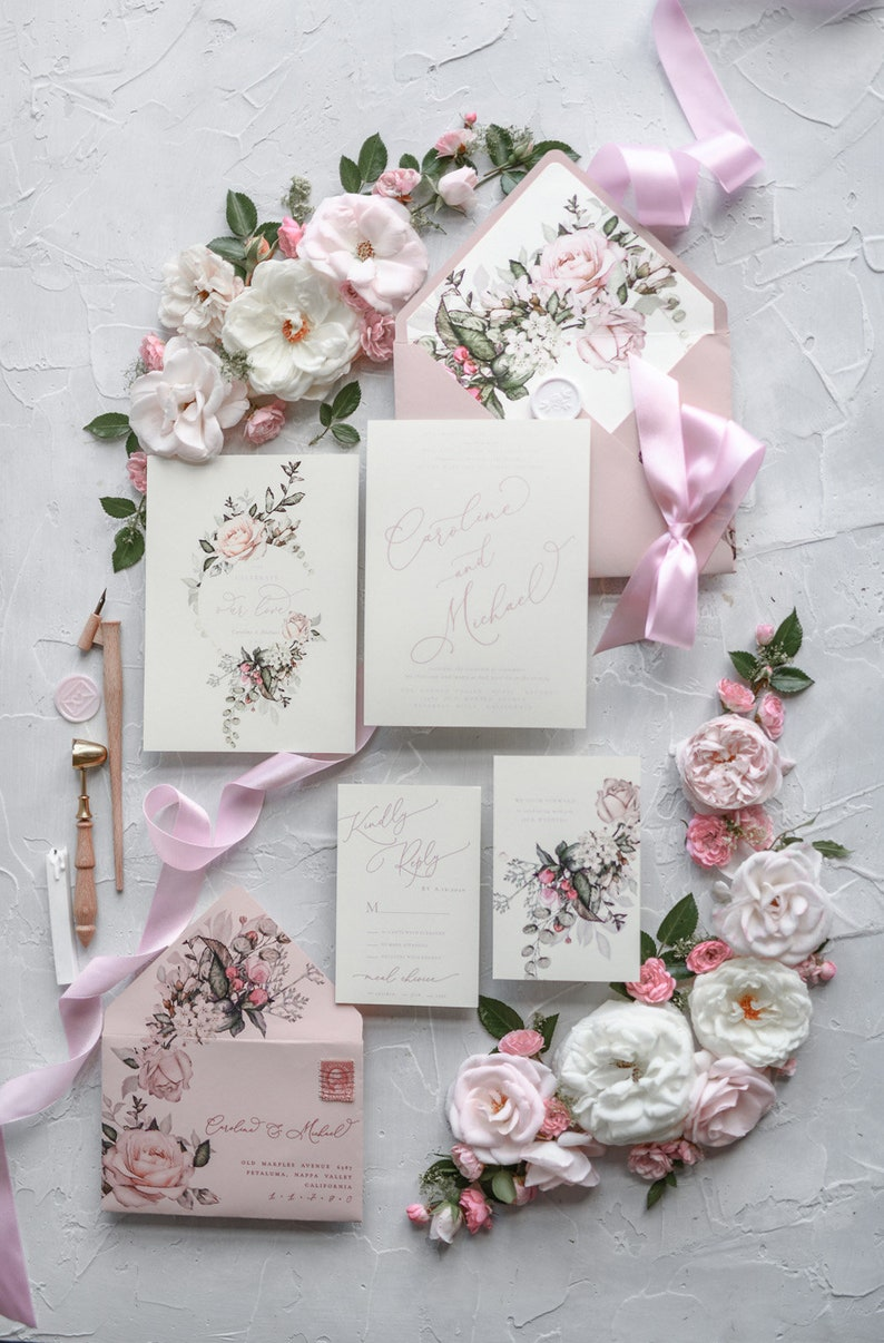 Wedding Invitation Set Wedding Invitation Card Handmade Etsy
