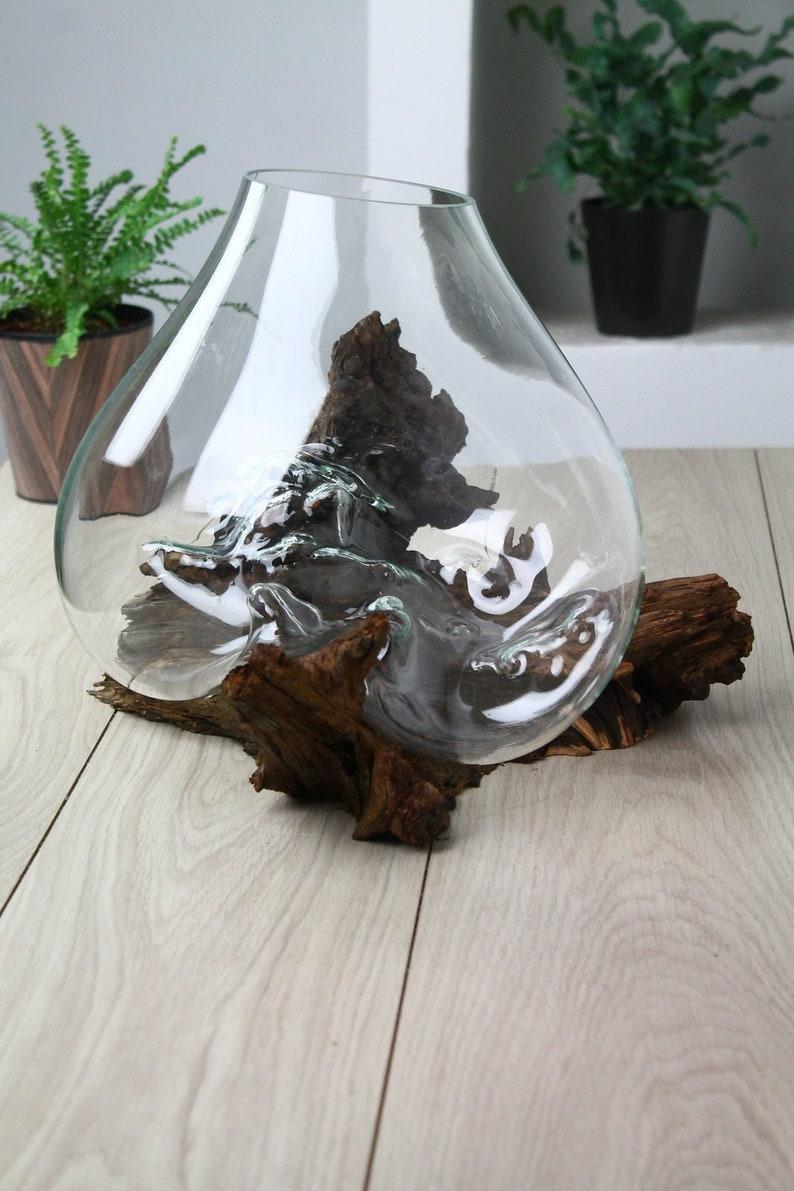 Glas auf Glasdekoration, Wurzel, Vase, Wabi Kusa, Las in Glas, Blumentopf,  schmücken das Wohnzimmer, ein Hochzeitsgeschenk, Dekoration mit Holz