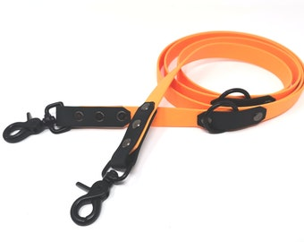 Biothane dog guide leash two-coloured twoTone with hand strap or adjustable 1 m/2 m/3 m