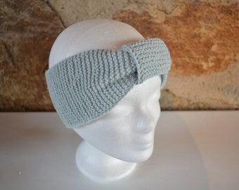 e3a9245516d0ab Stirnband aus hellblauem Garn Ohrenwärmer Turban Haarband