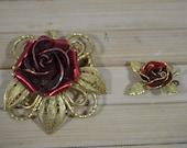 Brooch pendant 2pcs. Rosejewelry Chiseled 50s Rockabella Rockabilly Vintage Jewelry