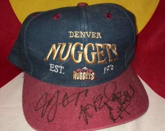 618c6bd6a52a4 Denver Nuggets Vintage Snapback Hat Signed NBA Basketball Nick Van Exel