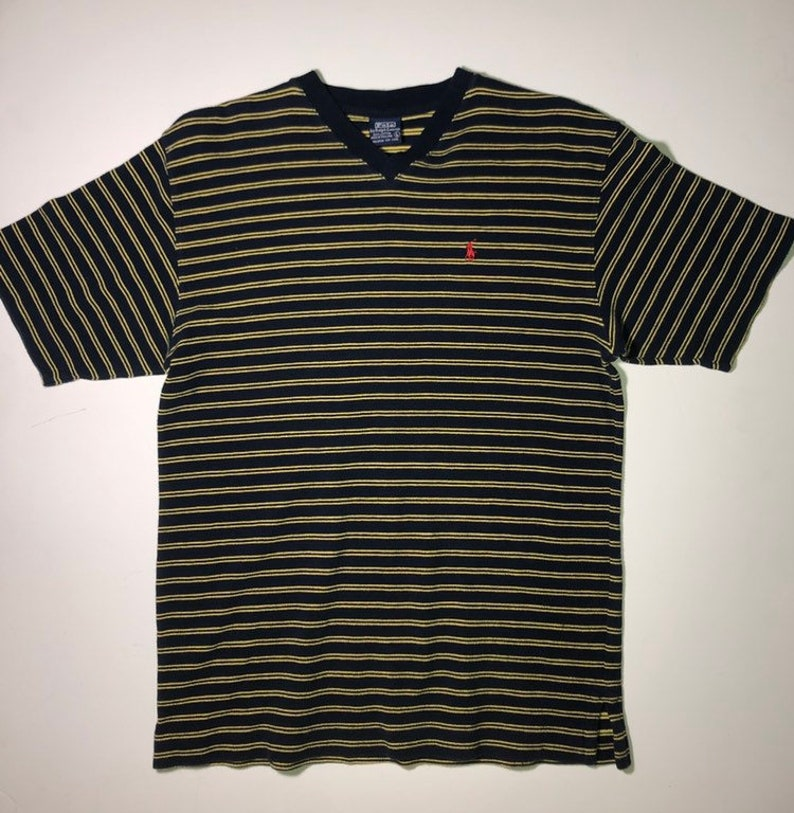 Medium Striped Neck Ralph T Shirt Polo V Mens Lauren y08wOmvNn