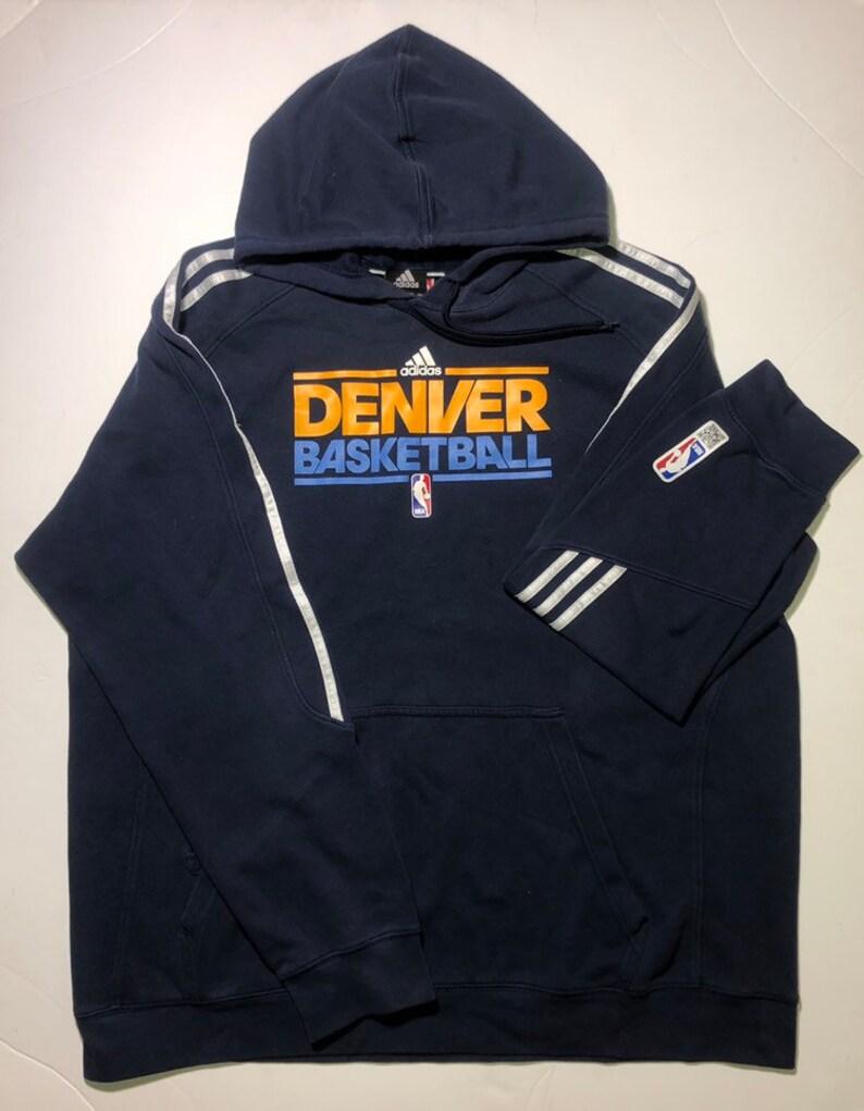 sports shoes 0a598 7e933 Denver Nuggets Adidas Hoodie Mens 2XL NBA Basketball Vintage Authentic
