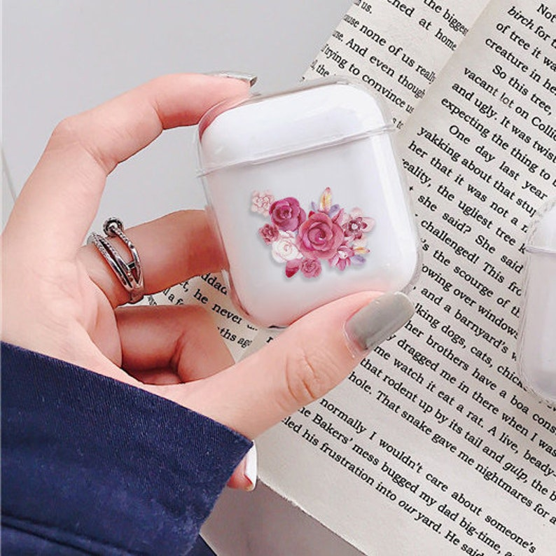 Pink rose Airpods case silicone clear Airpods pro case Custom airpods case Airpod 1 2 case Airpod pro Airpods covers case pro cover cute 51